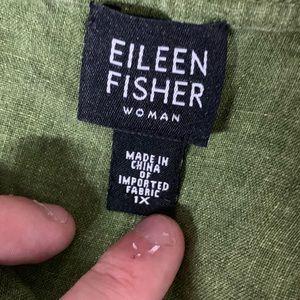 Eileen Fisher Tops - Eileen Fisher | Green Linen Button Down Blouse 1X